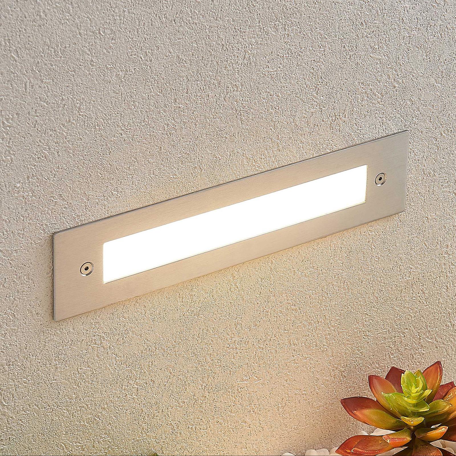 LED innfelt vegglampe Roni i edelstål, 27 cm