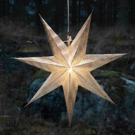 Estrella decorativa de papel, plateada, 7 puntas
