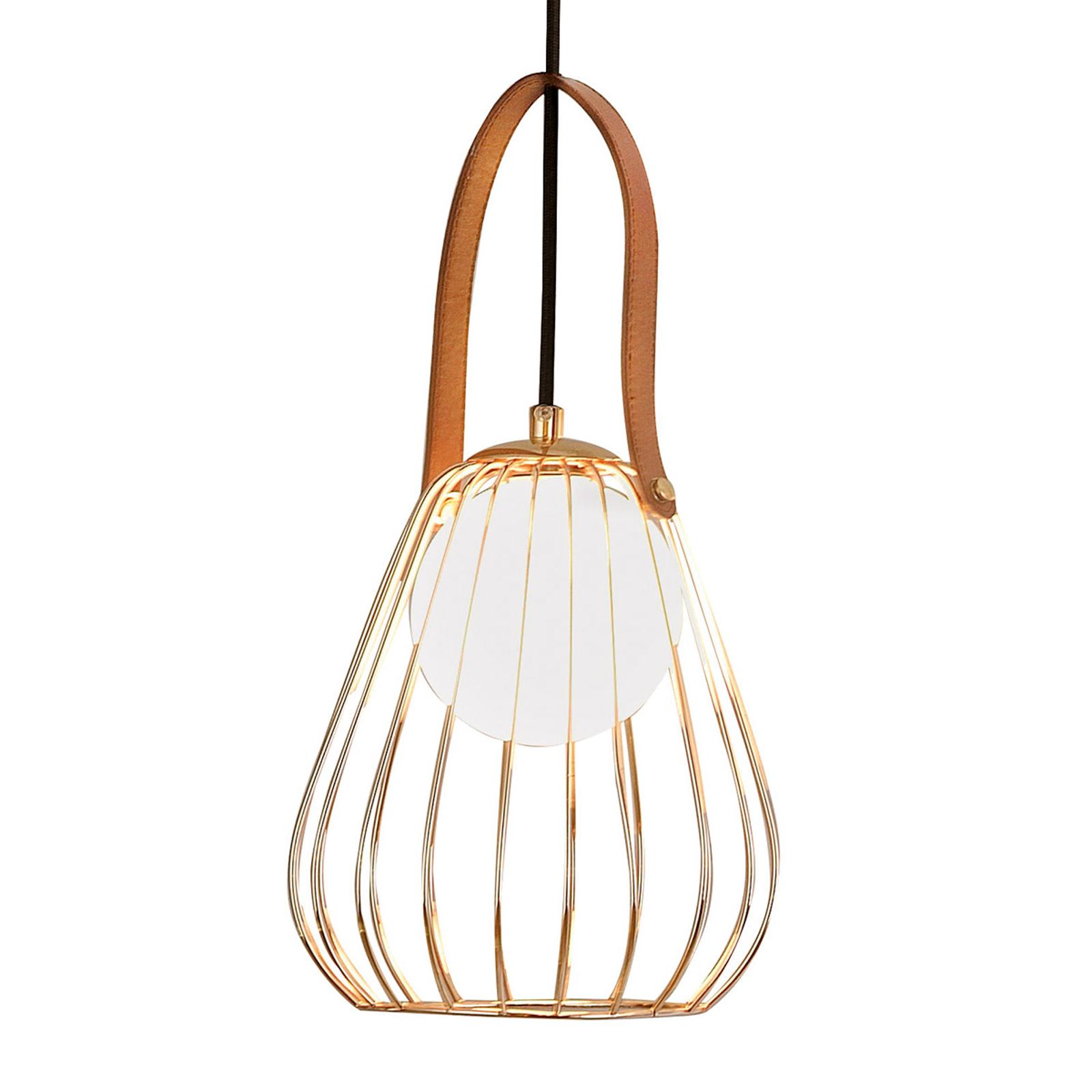 Lampa wisząca Levik ze złotą klatką Ø 18 cm