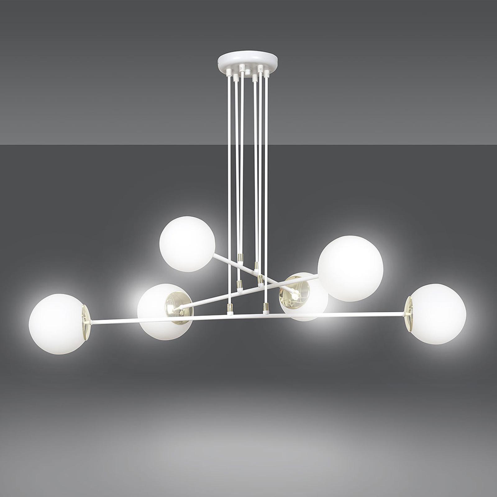 Suspension Ognis 6, à 6 lampes, blanche/dorée