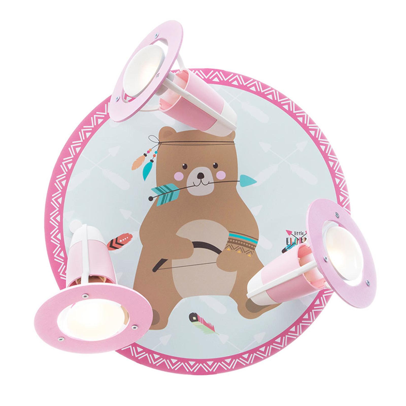 Taklampa Little Indians, björn Bjørn, mint-rosa