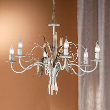 Florentijnse kroonluchter FLORA, 6-lichts, ivoor