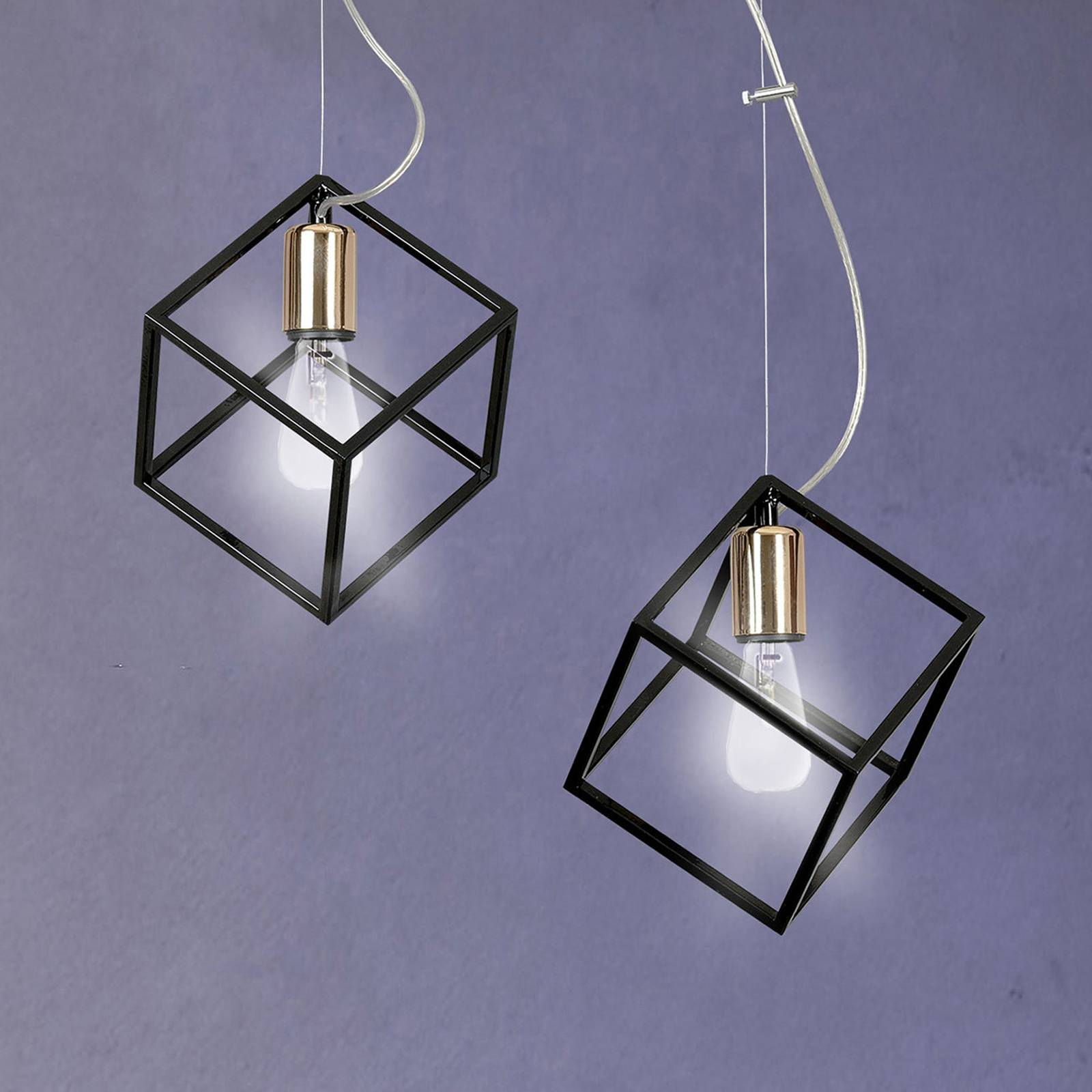 Hanglamp Ambition 2 2-lamps, zwart-goud