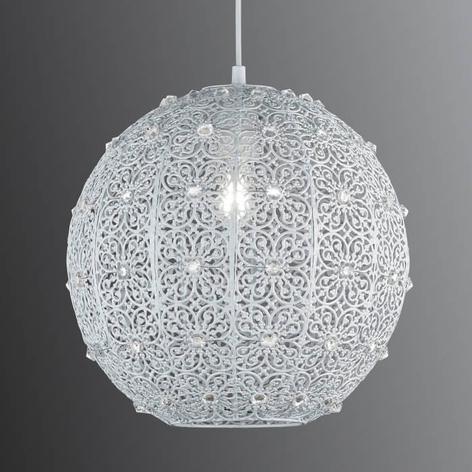 Bílé kovové závěs. světlo Bajo s akryl. krystaly