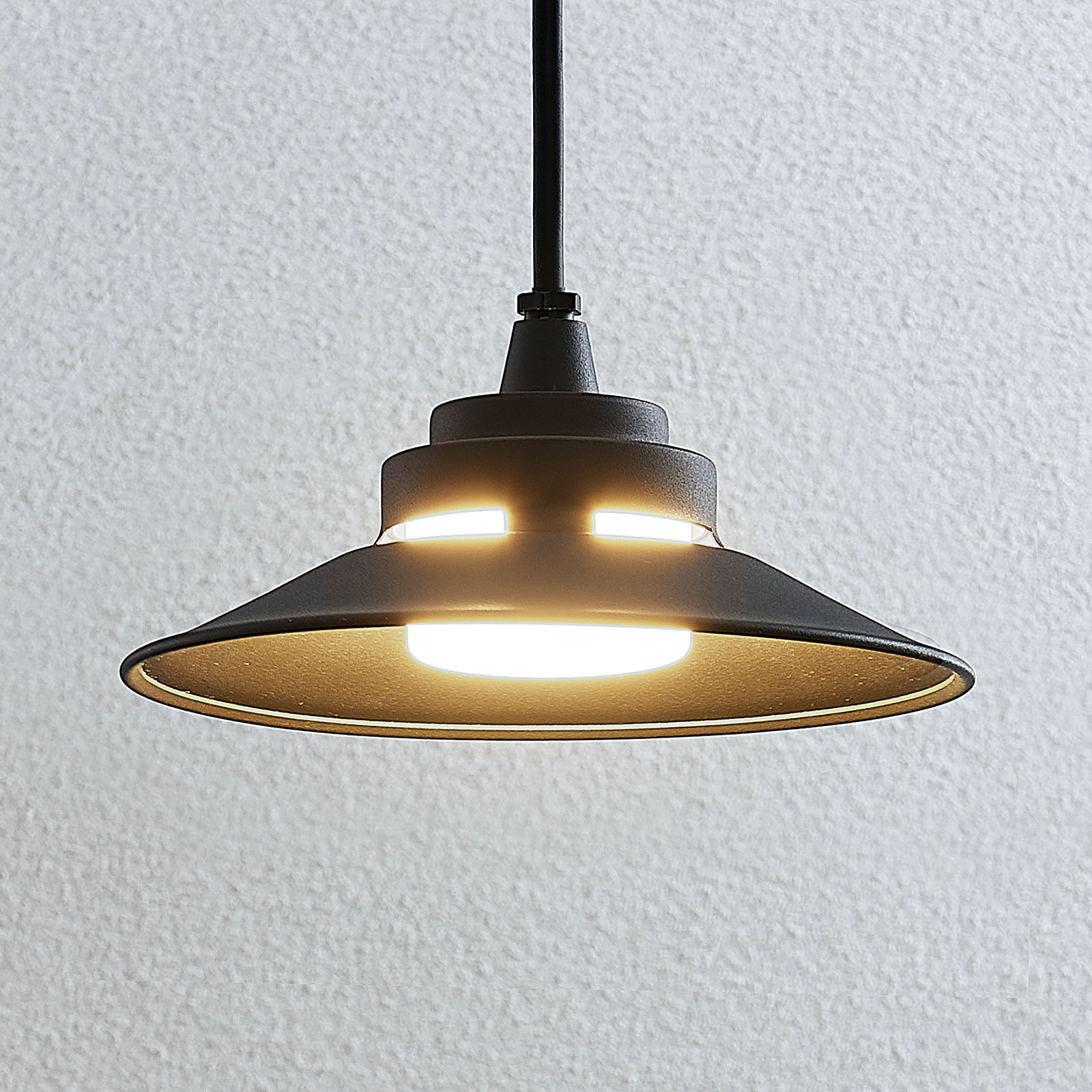 Lampa wisząca zewnętrzna LED Cassia, ciemnoszara