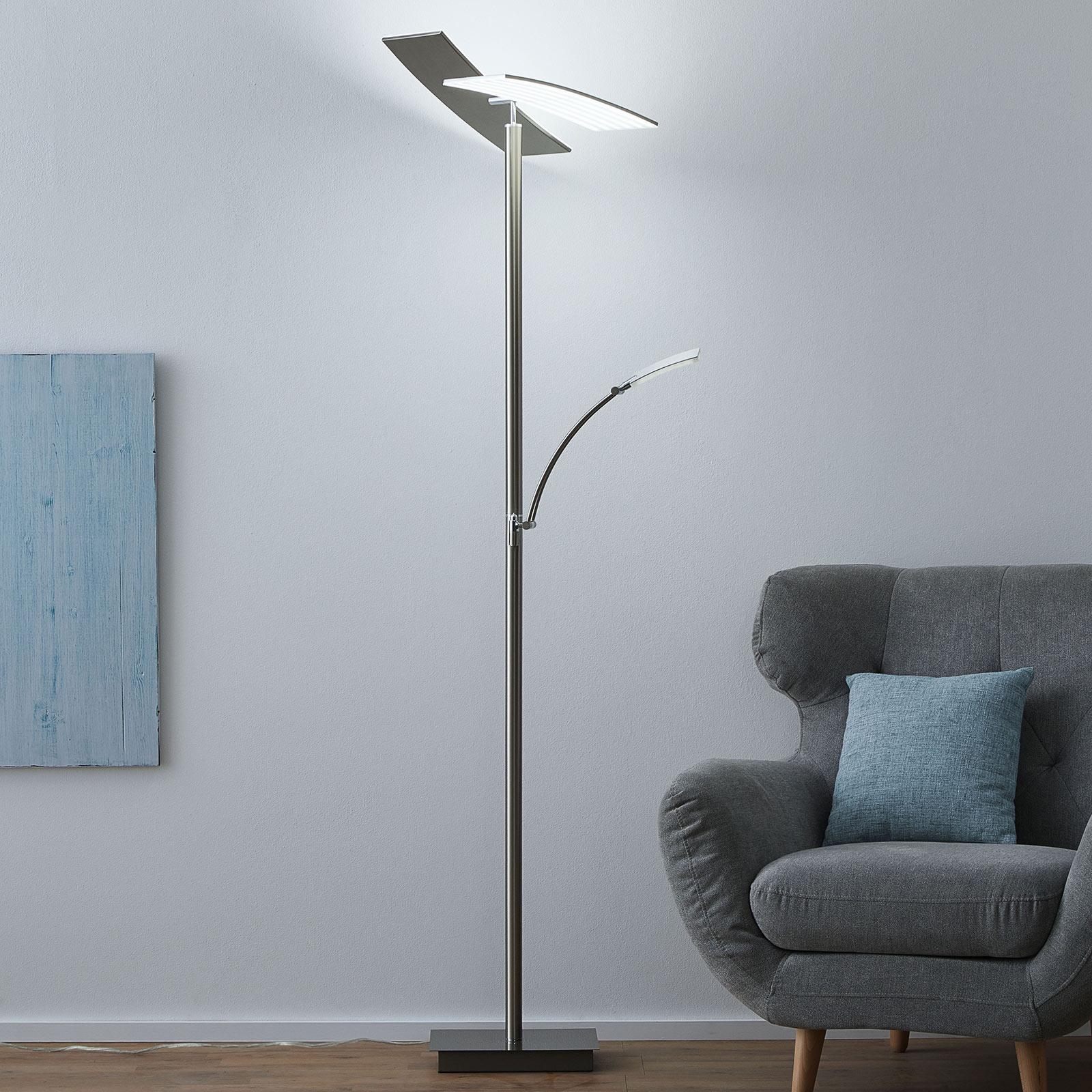 B-Leuchten Duo LED-Stehleuchte nickel matt CCT