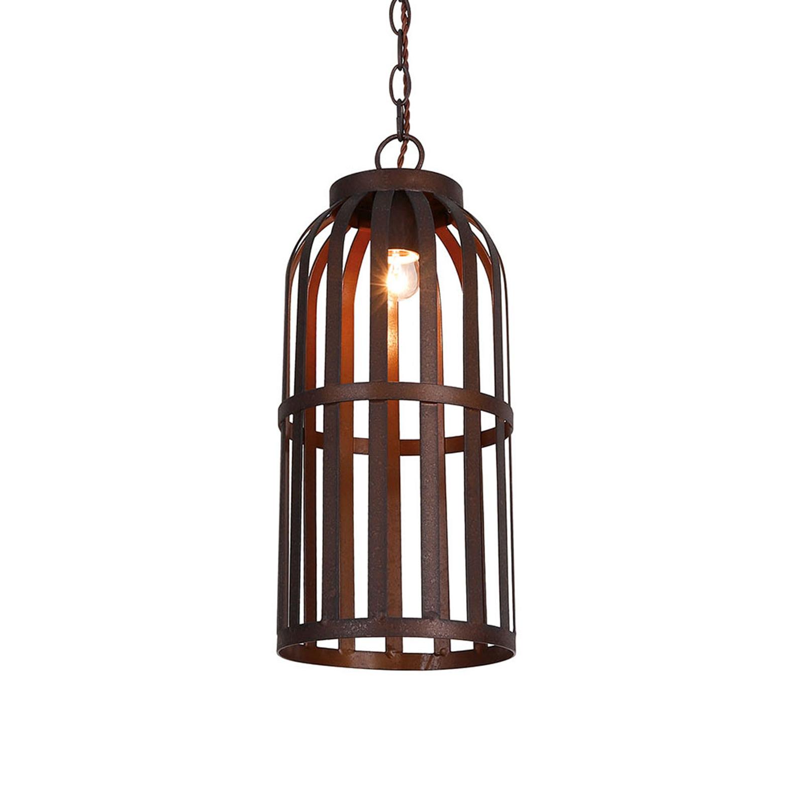 Lampa wisząca Ralph, klatka, brązowa, Ø 20 cm