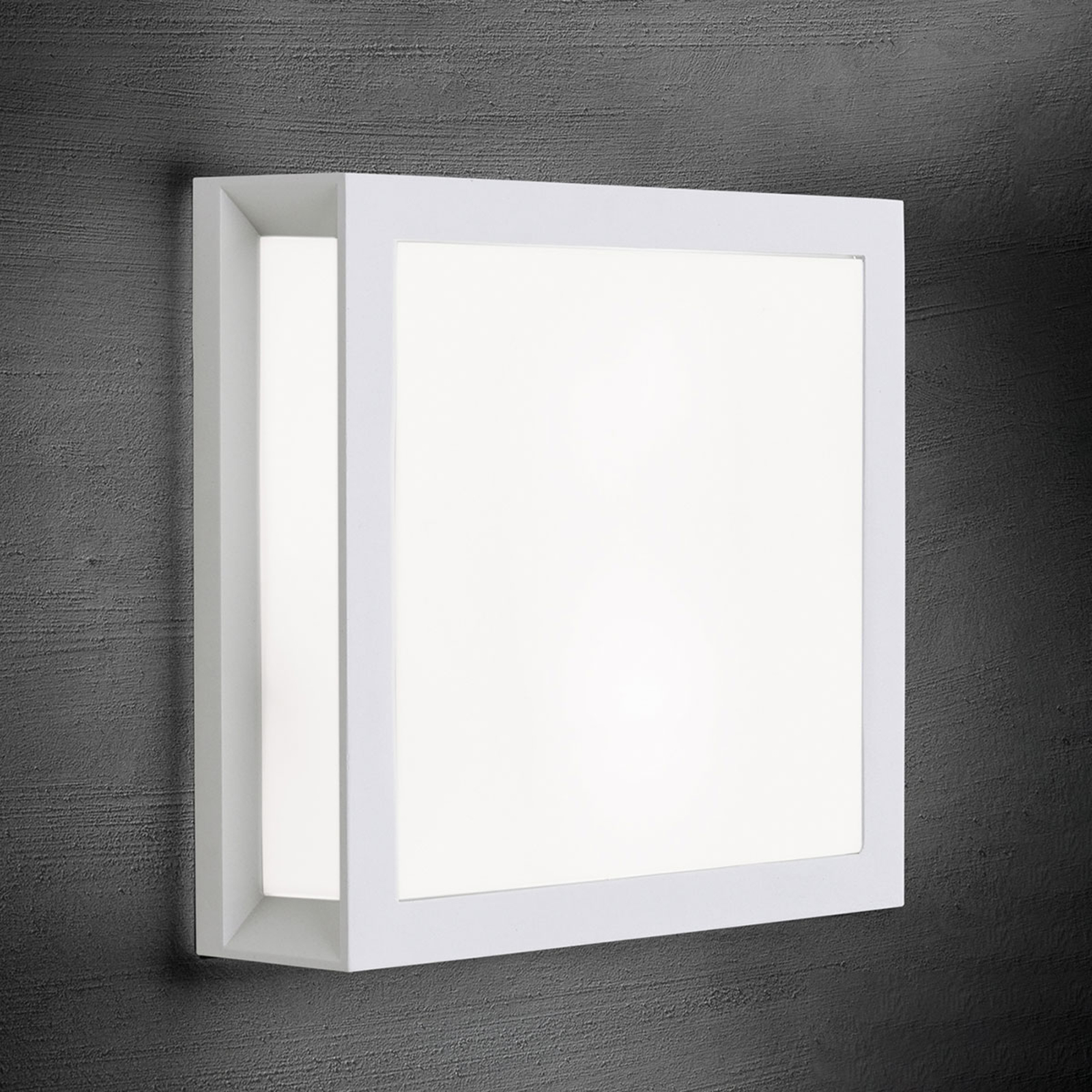 Henry - hoekige buitenwandlamp in wit
