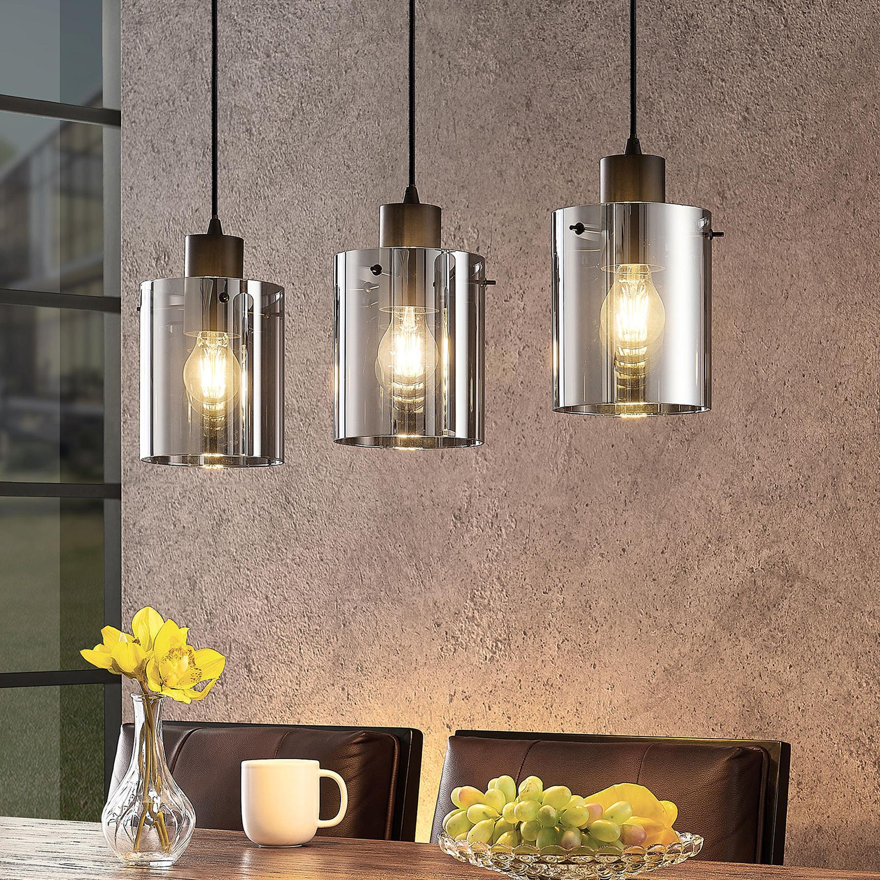 Lindby Kourtney hanglamp met glazen kap, 3-lamps