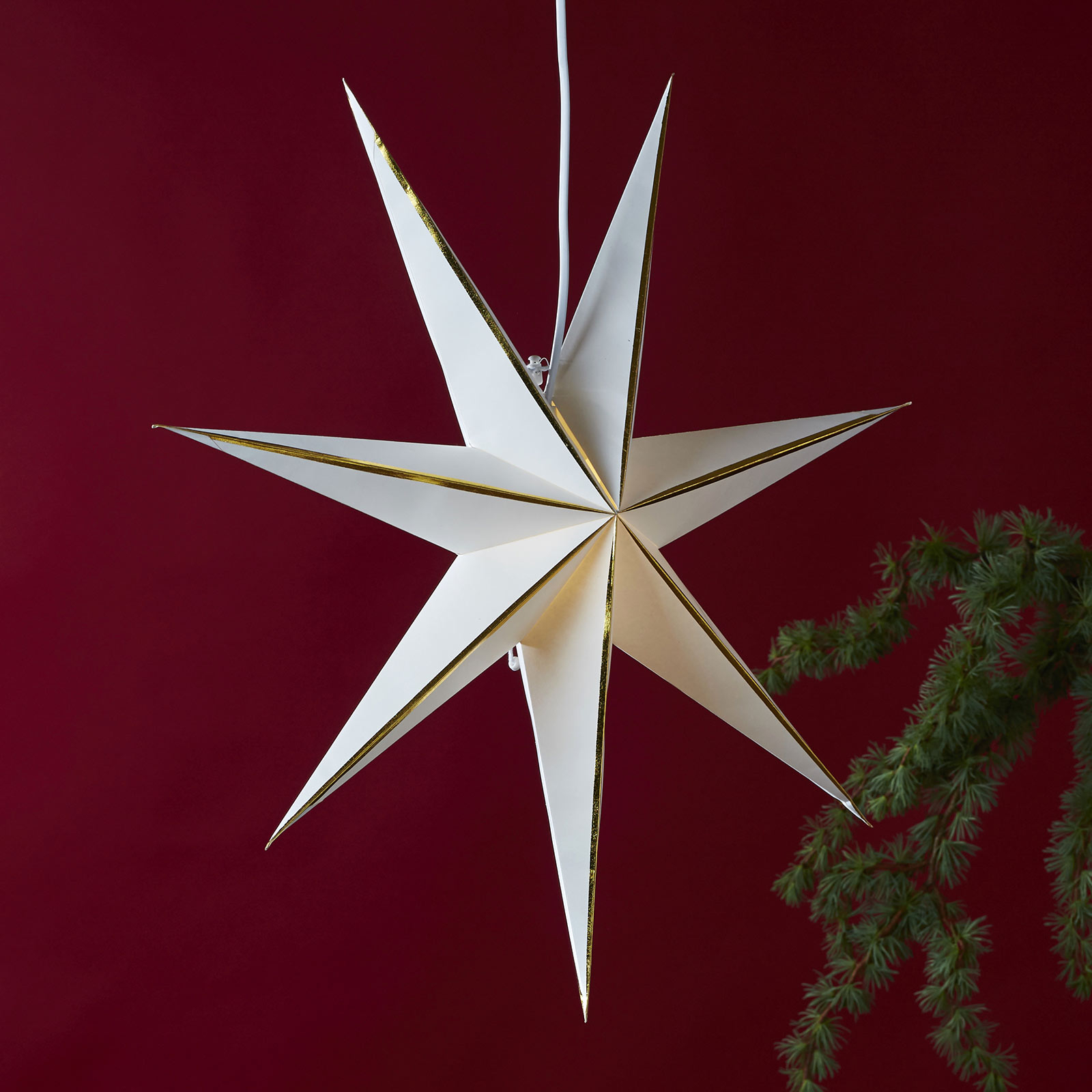 Stjerne Lysa av papir, hvitt/gull