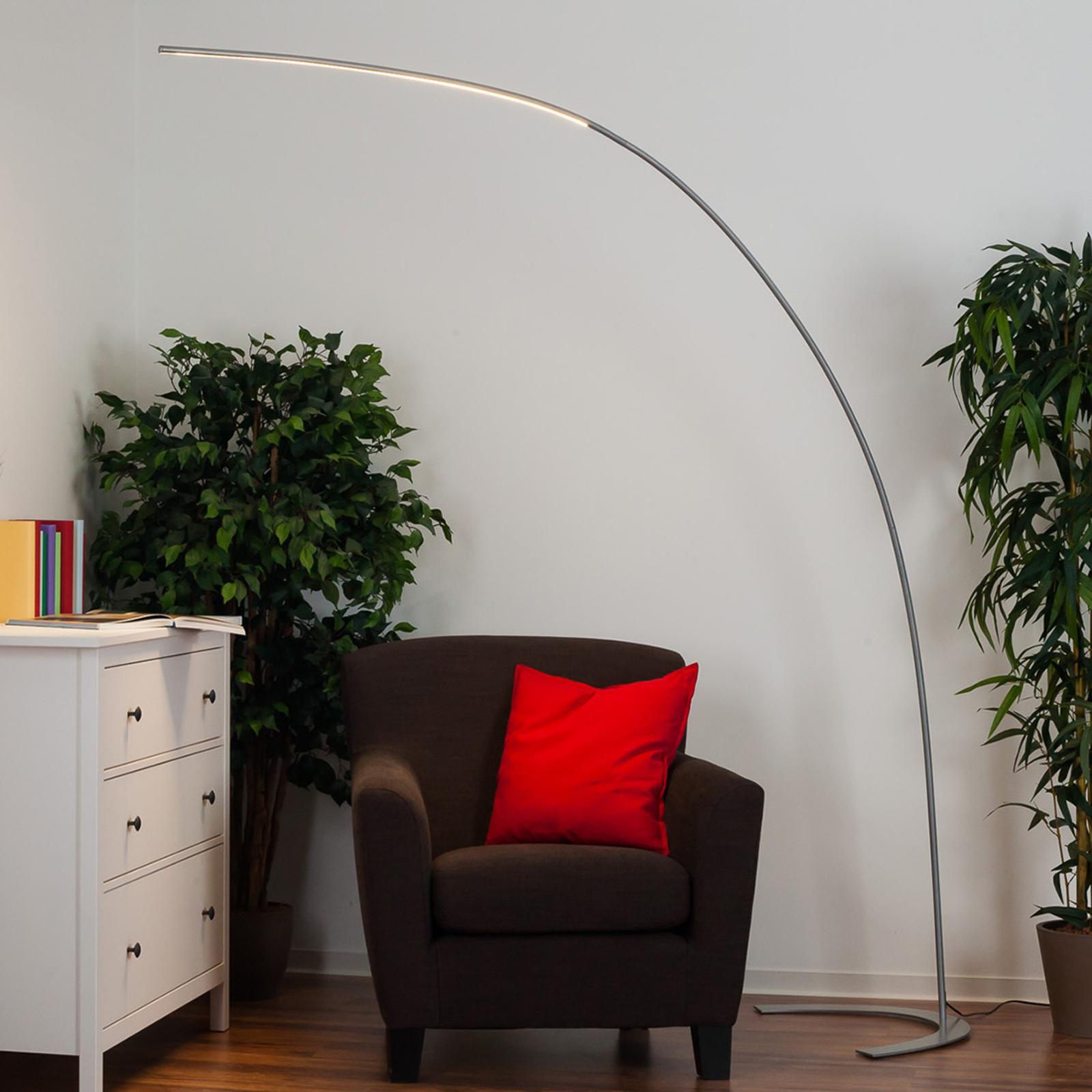 Srebrna lampa stojąca LED DANUA