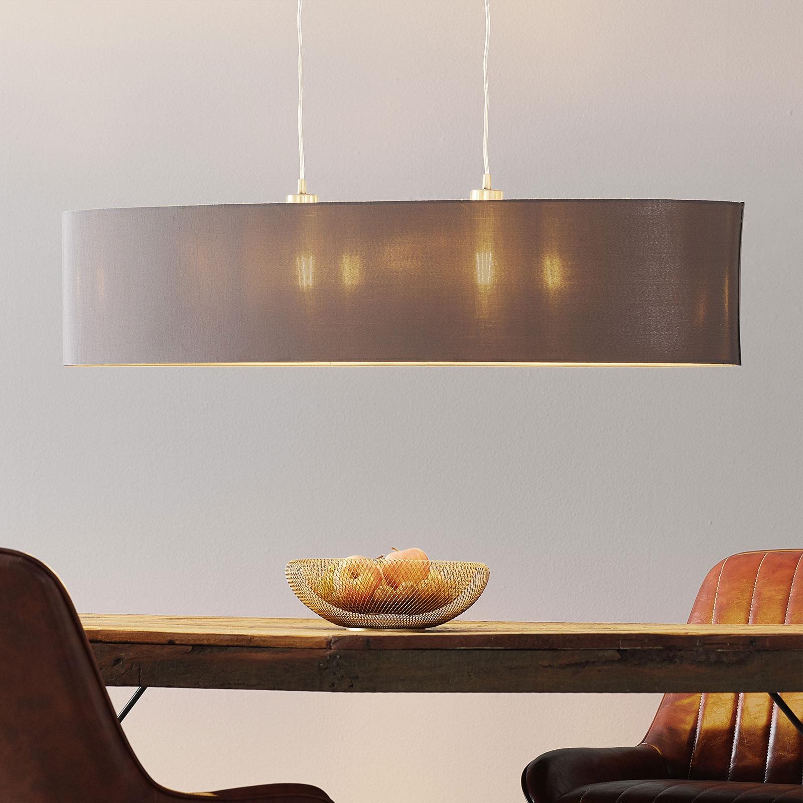 Stoffen hanglamp Maserlo, ovaal, cappuccino 100 cm