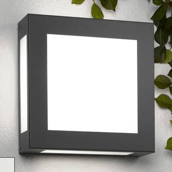 Kantig utomhuslampa Legendo, antracit, u. sensor