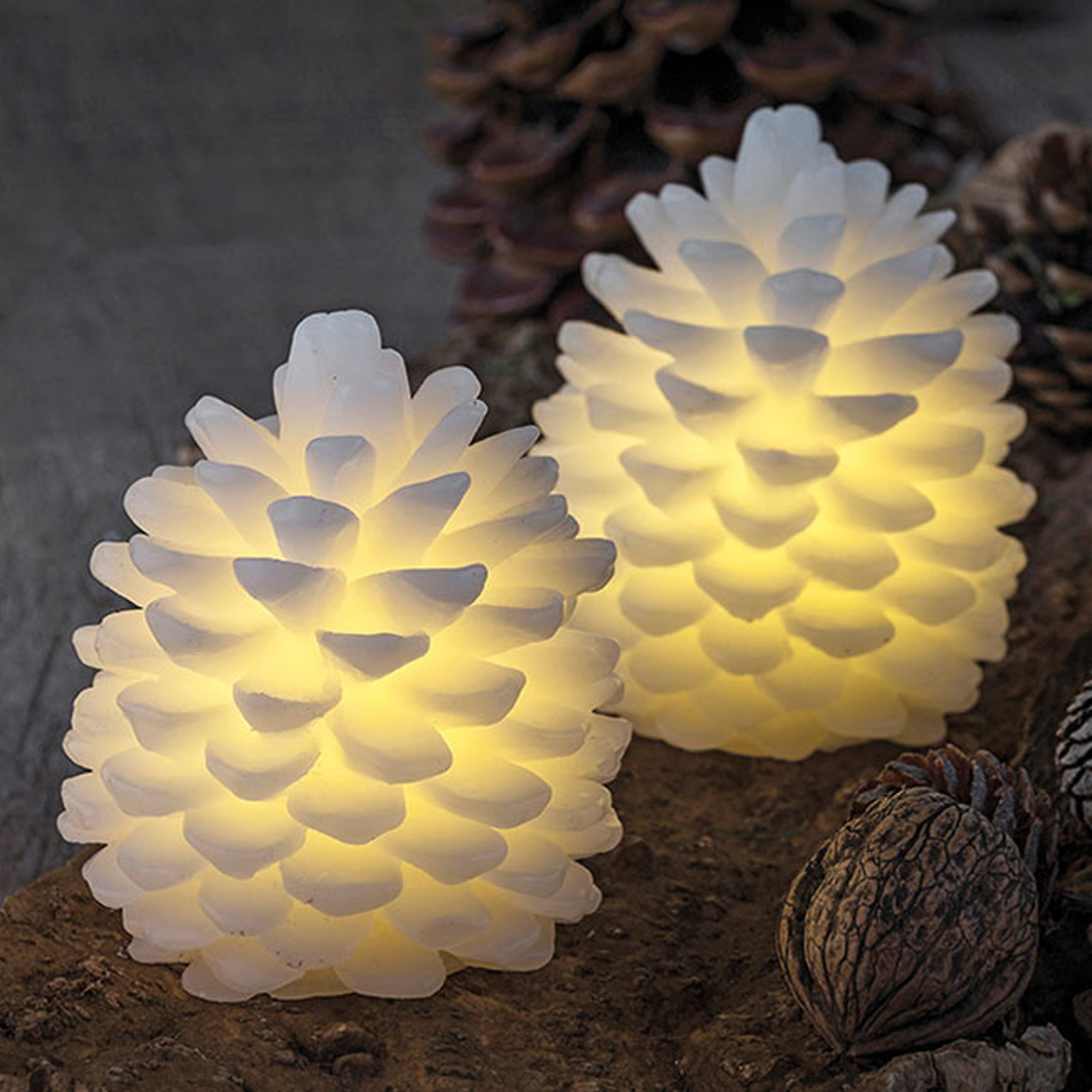 LED-Kerze Clara, Höhe 10 cm, Zweierset