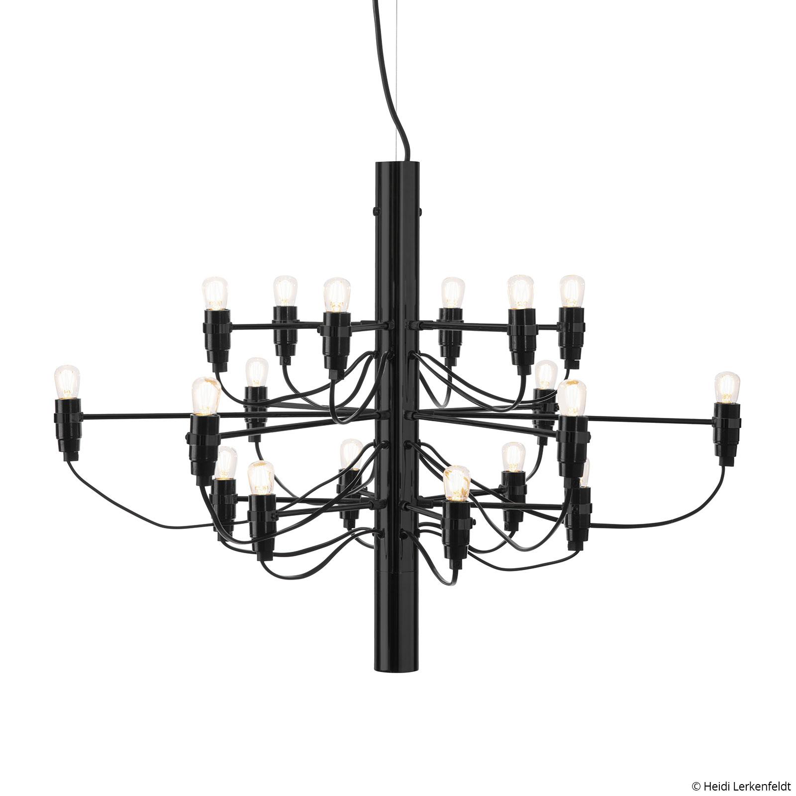 FLOS 2097/18 LED-ljuskrona frostad, svart