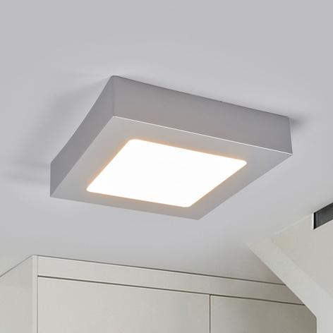 LED-Deckenlampe Marlo silber 3000K eckig 18,1cm