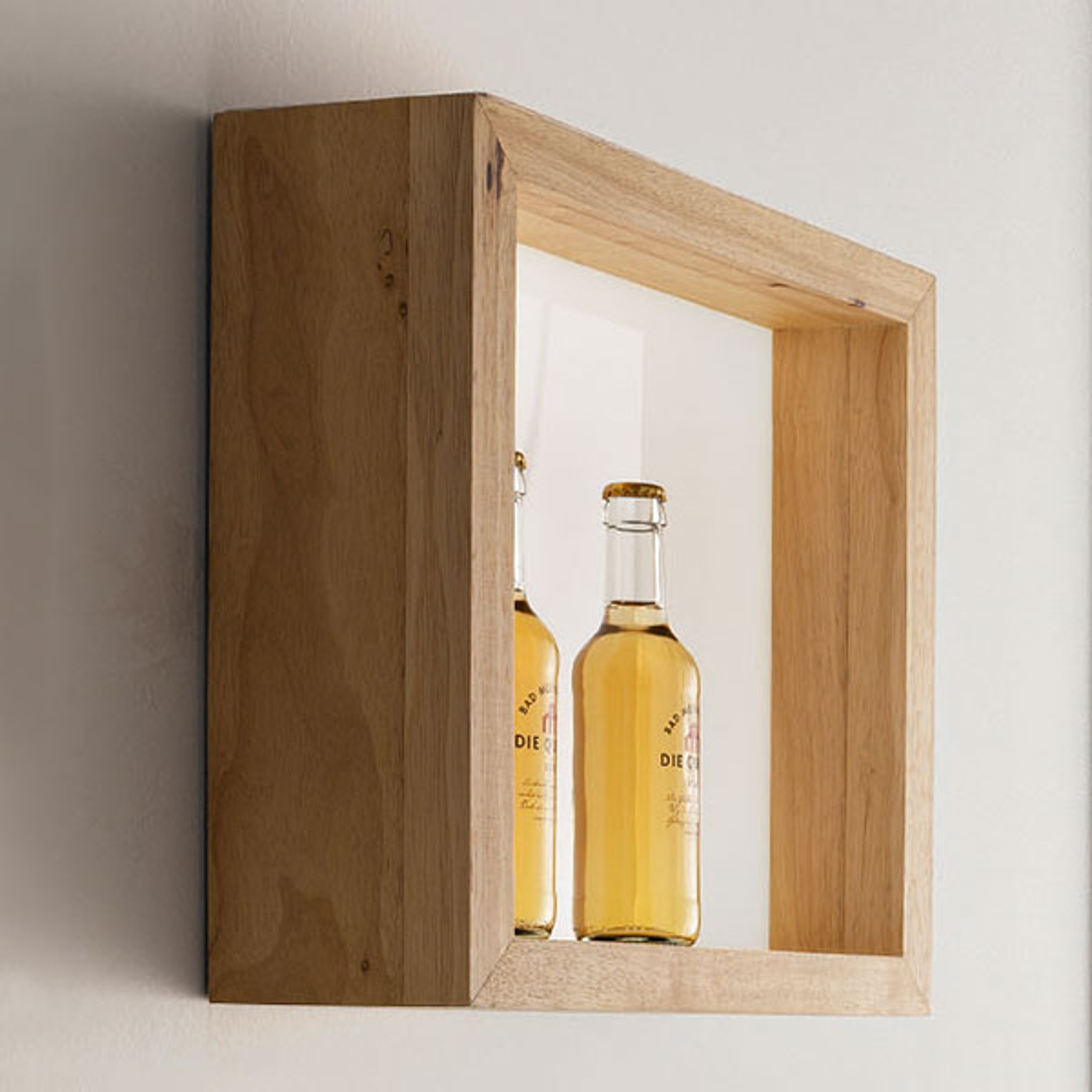 LED-Wandleuchte Window, 37 x 37 cm, Eichenholz