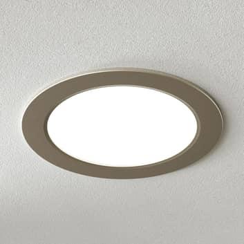 Lámpara de techo LED empotrada Pindos, níquel