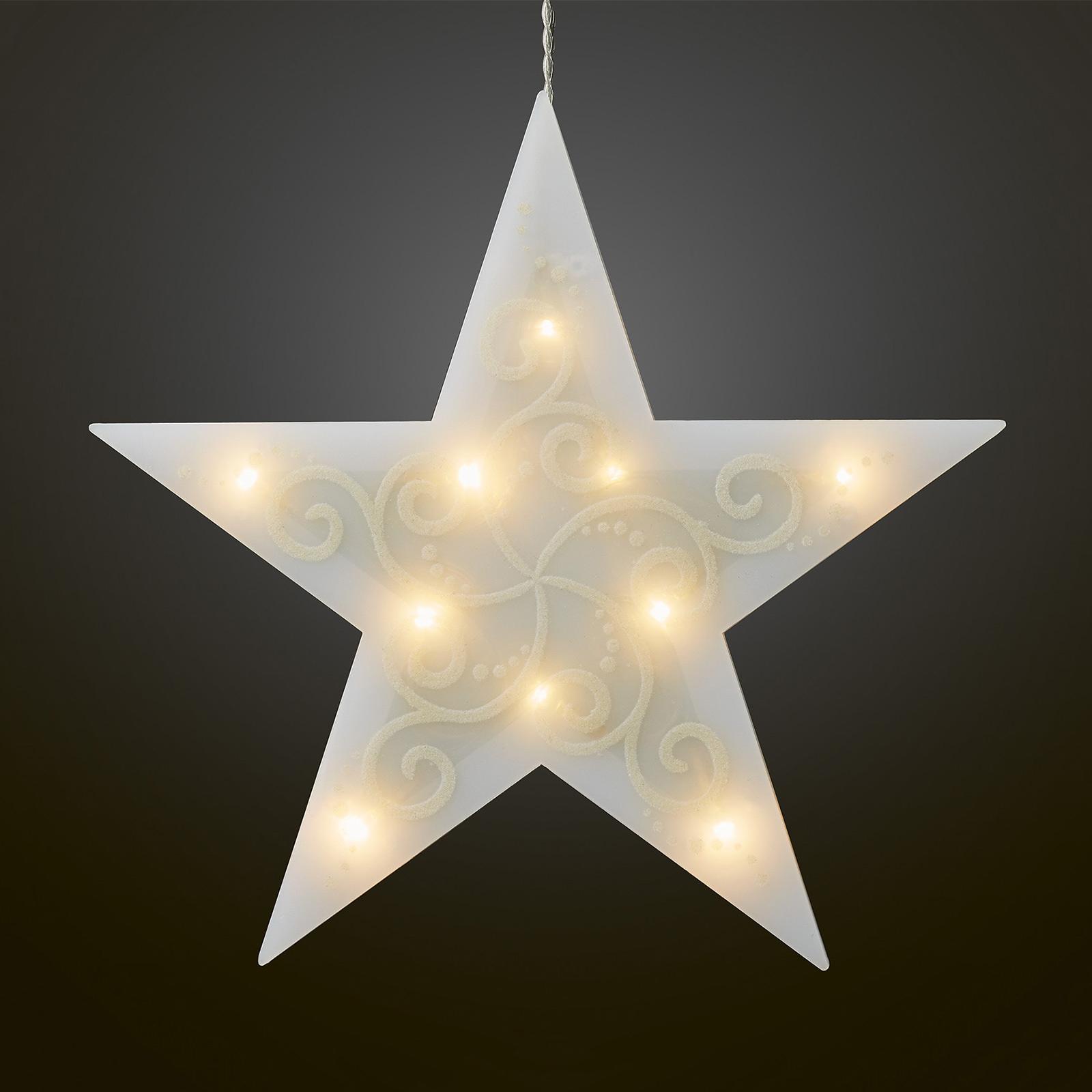 LED-dekostjerner, 5 spidser, hvid lyskæde