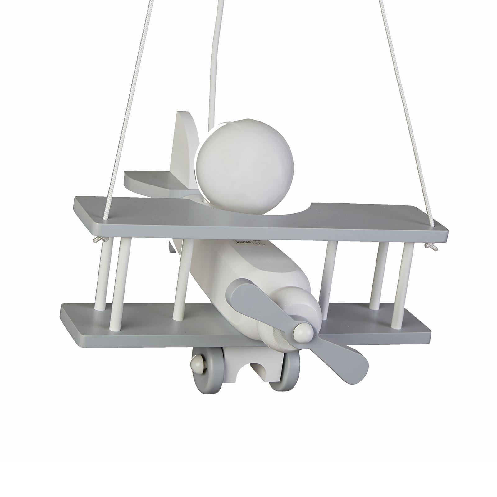 Pendelleuchte Flugzeug, Massivholz, grau-weiß