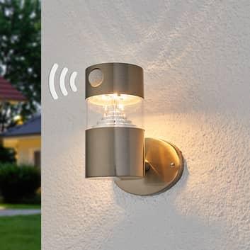 Solcellevegglampe Kalypso med LEDs, rustfritt stål