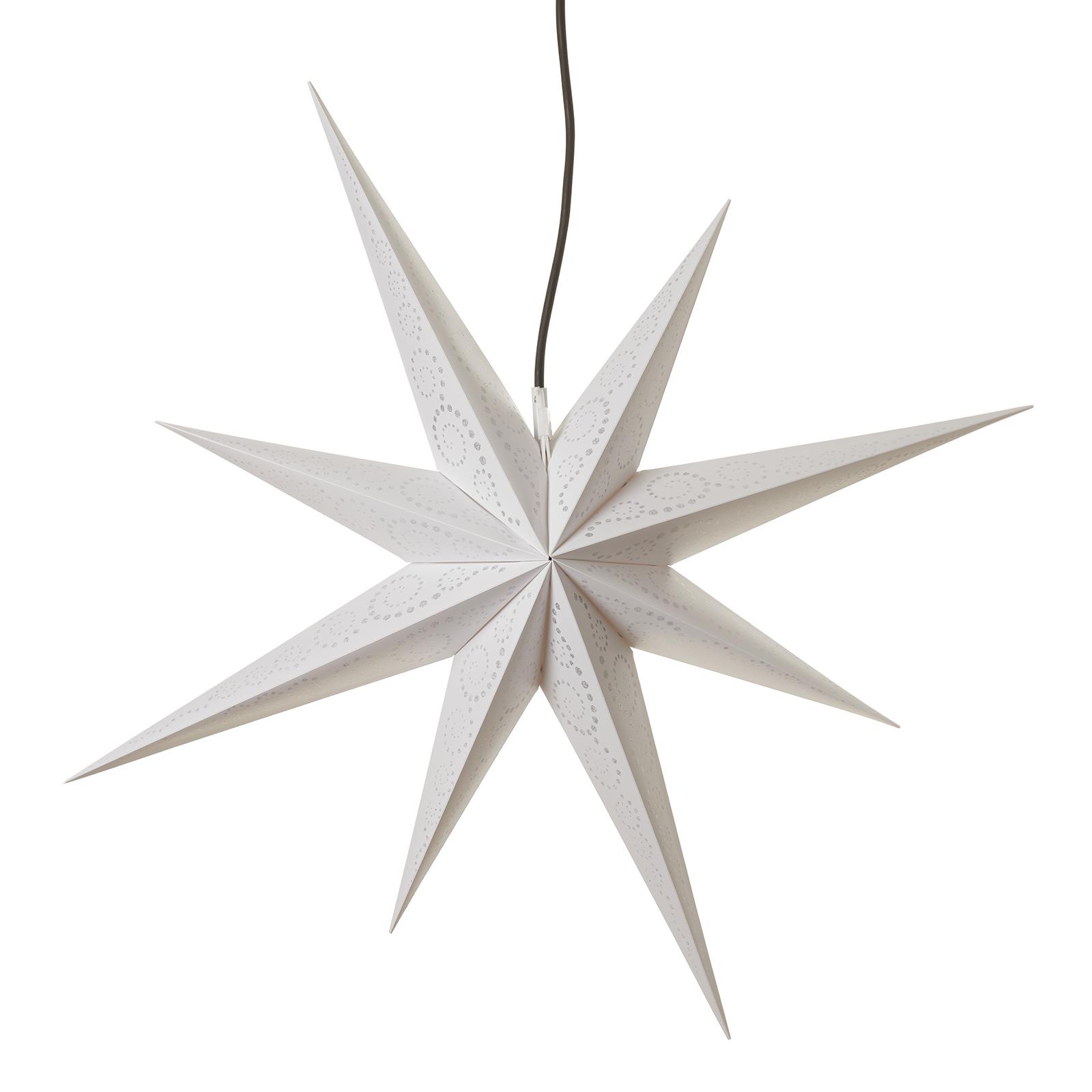 Ganesha 8-tak stjerne m. glitterdesign, hvid