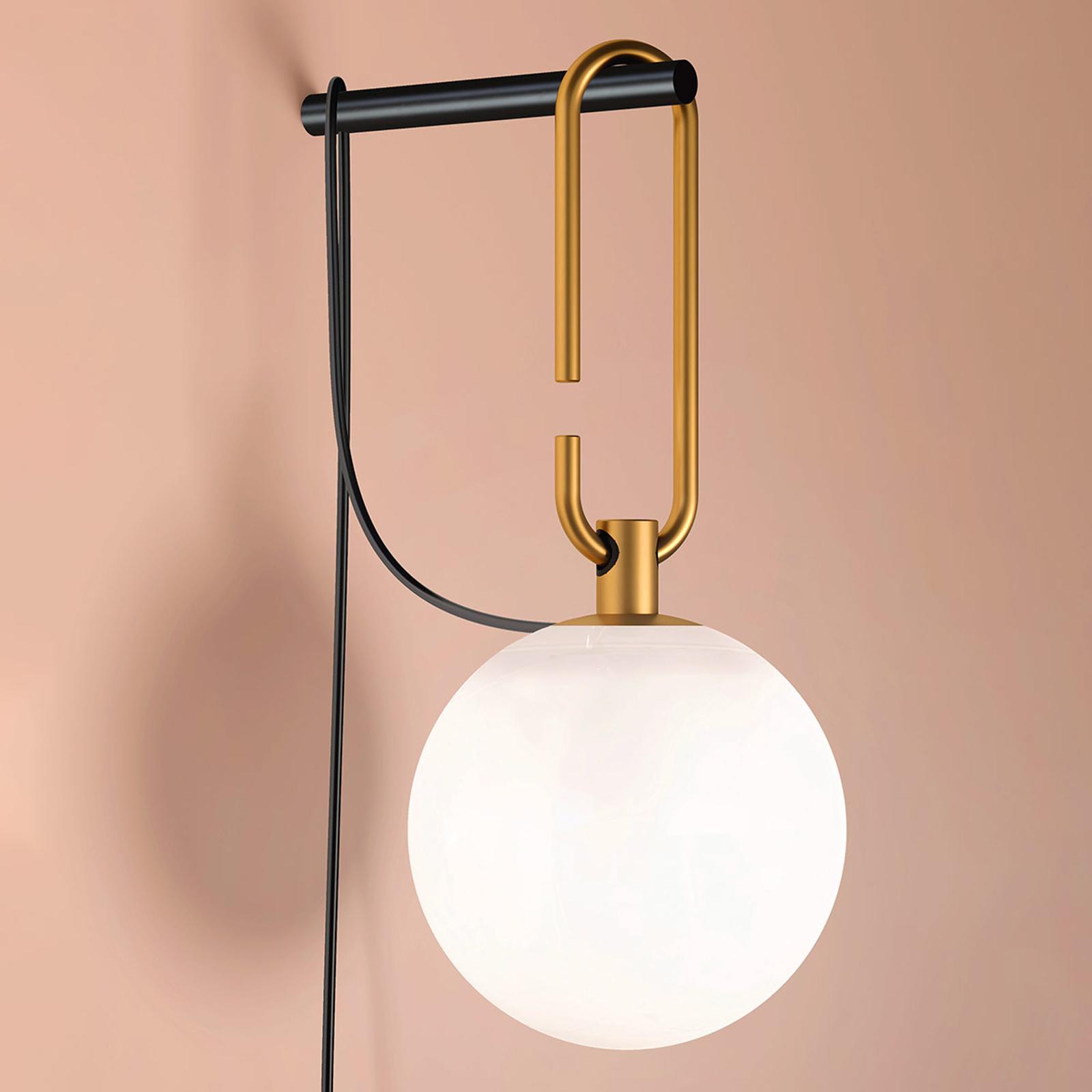 Artemide nh lampa ścienna z kulą szklaną, mosiądz