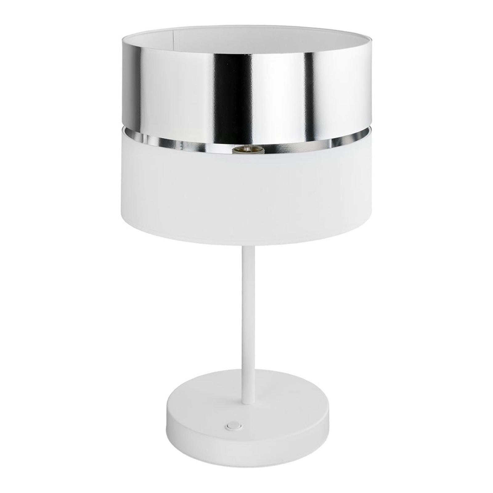 Hilton bordlampe, hvit/sølv