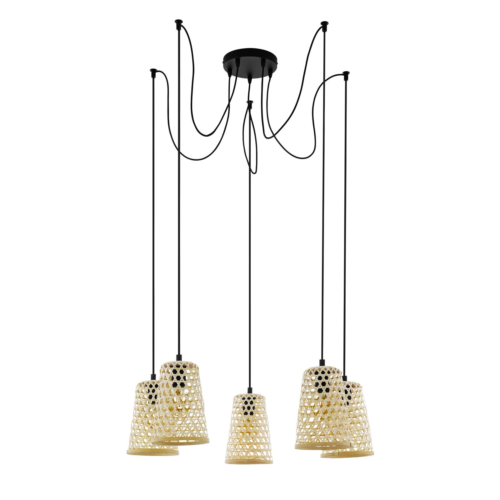 Lampa wisząca Claverdon z 5 plecionymi kloszami