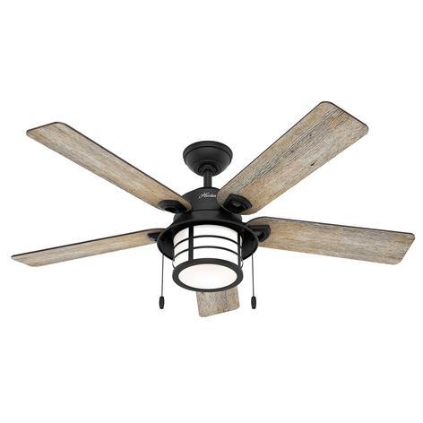 Hunter Santorini -ventilatore con luce, legno/nero