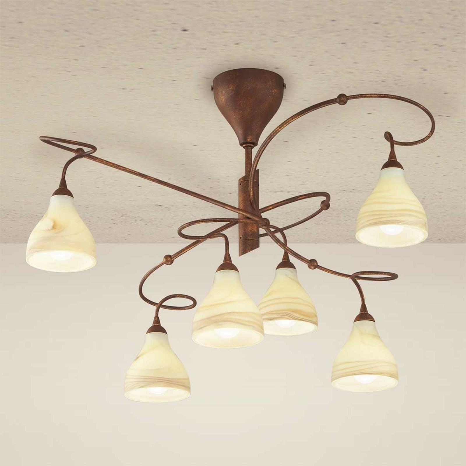Landhuis-plafondlamp Mattia, 6-lichts