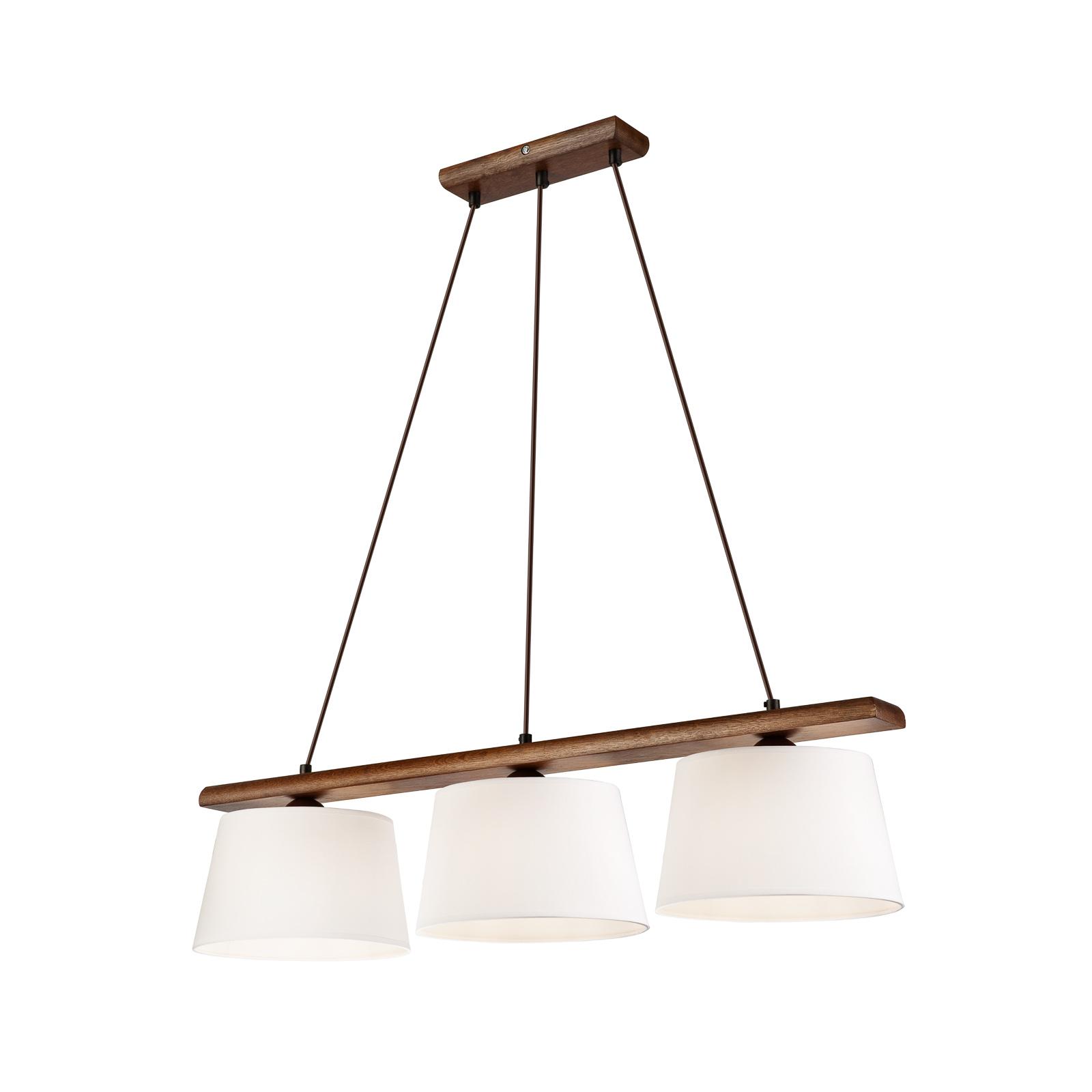Suspension Sweden à 3 lampes, noyer chêne