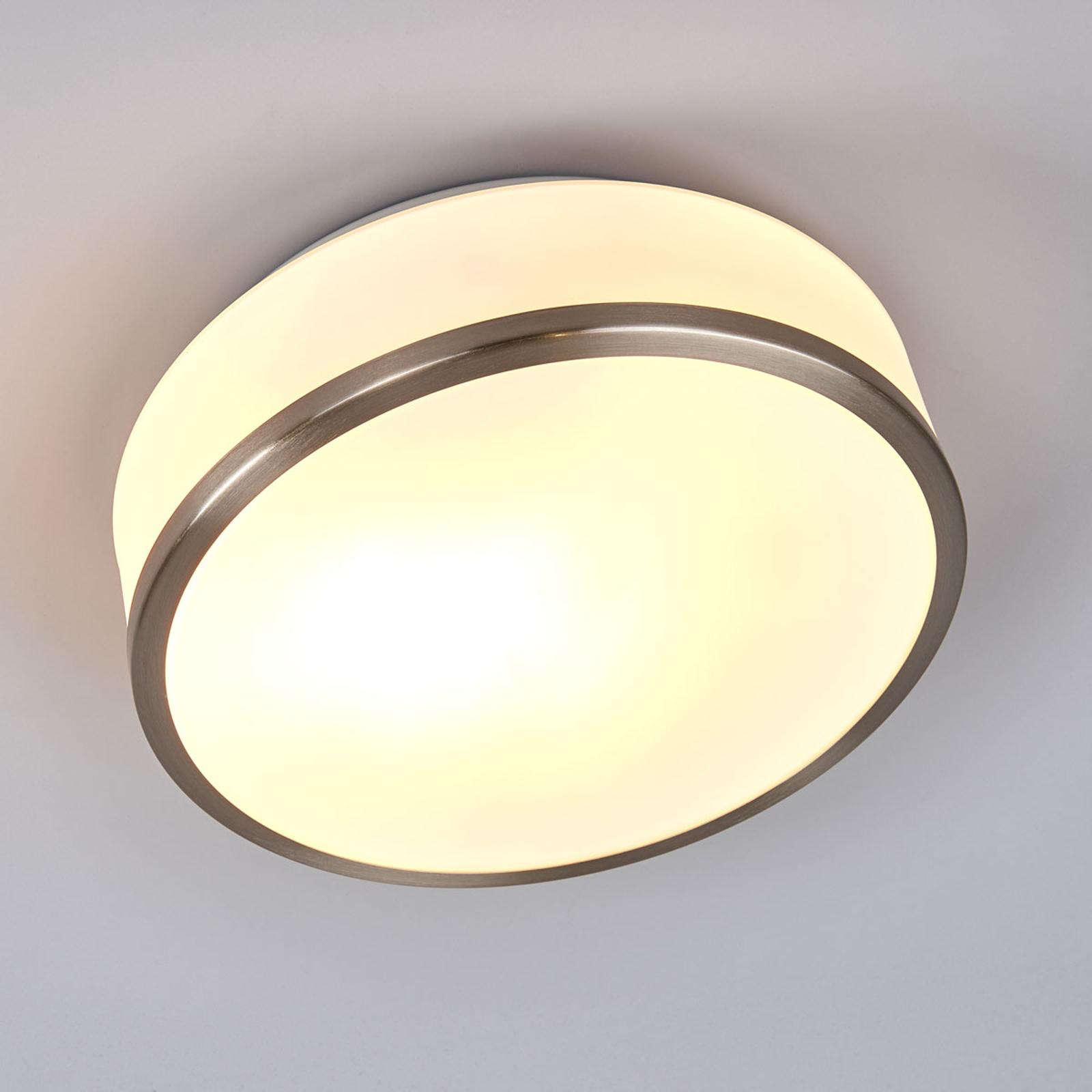 Plafondlamp Flush IP44, Ø 28cm, zilver gesatineerd