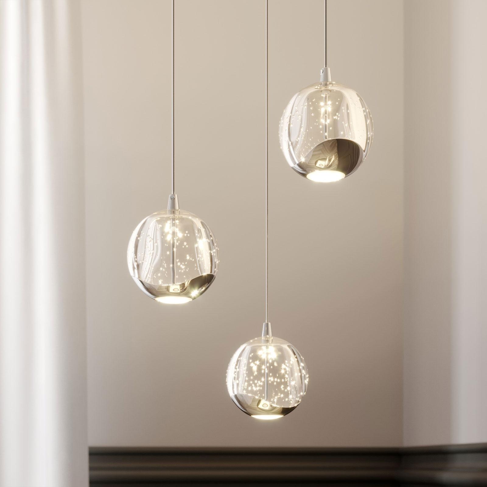 Lampada a sospensione LED Hayley, 3 luci, cromo