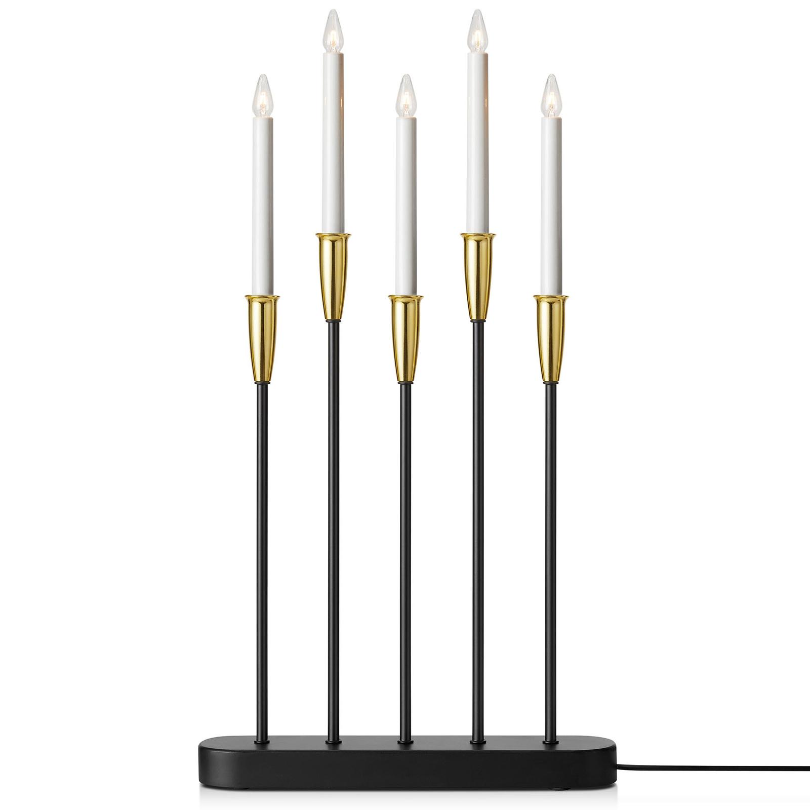 Chandelier Nice à 5 lampes noir/laiton