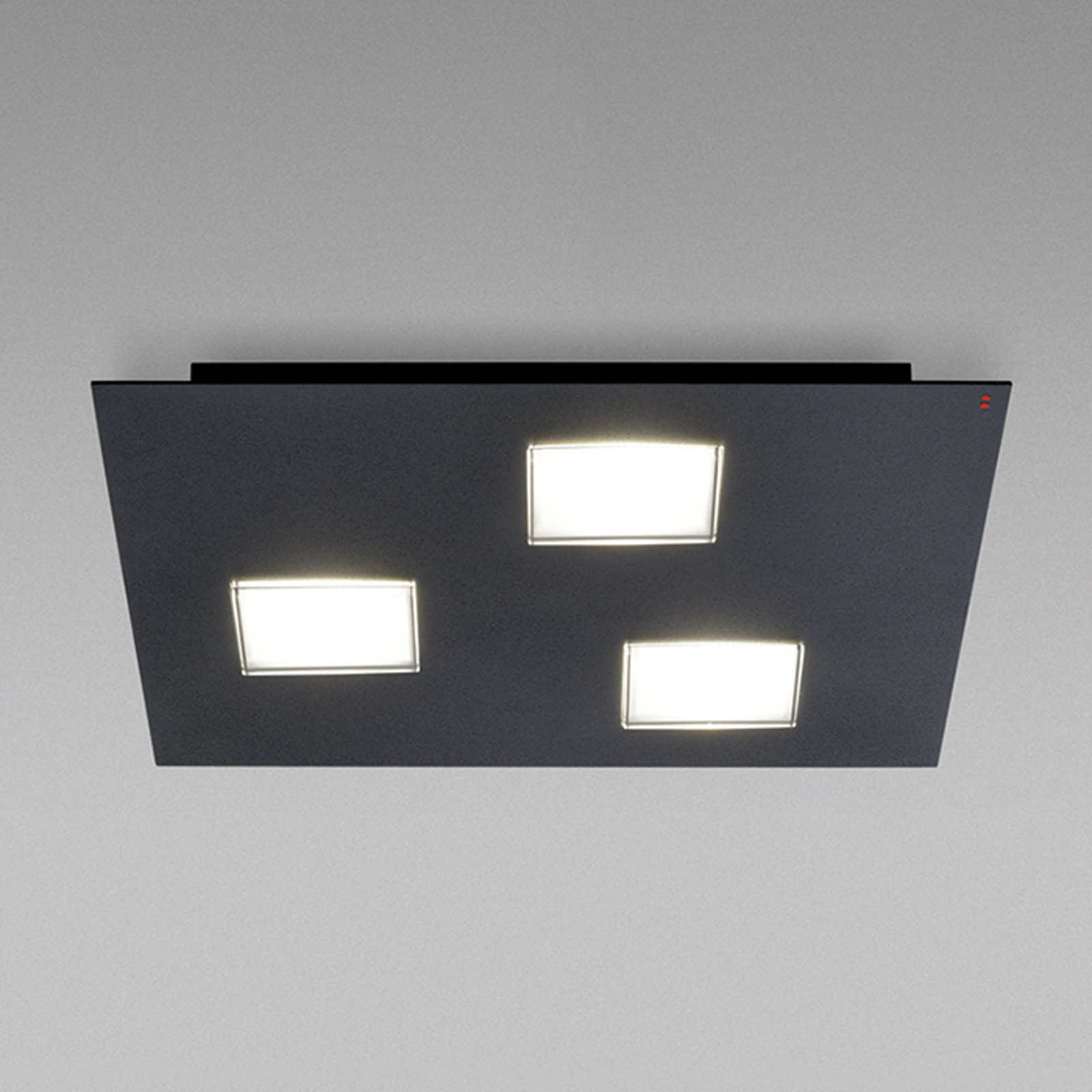 Fabbian Quarter – svart LED-taklampa 3 lampor