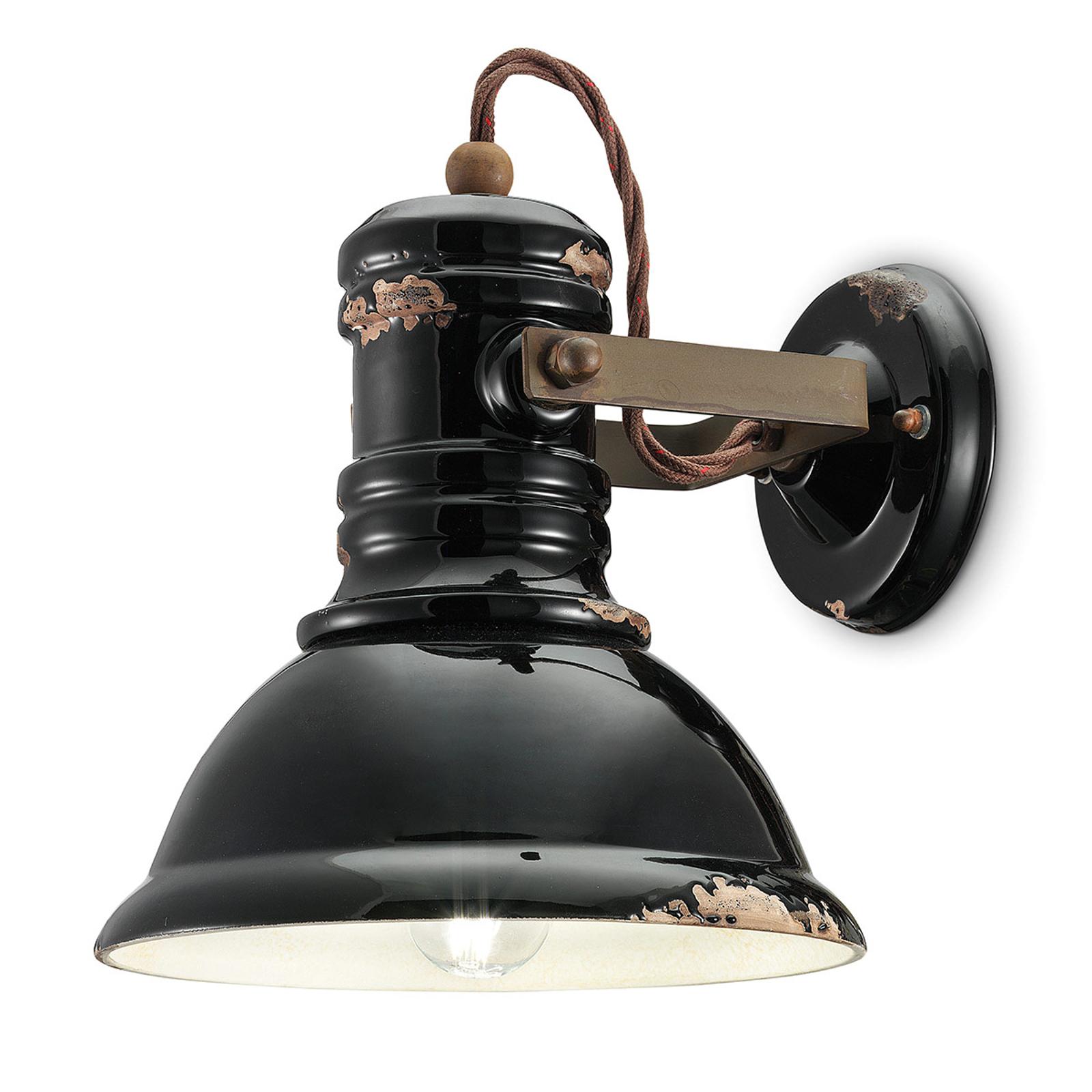 Keramické nástěnné světlo C1693 industriální černé