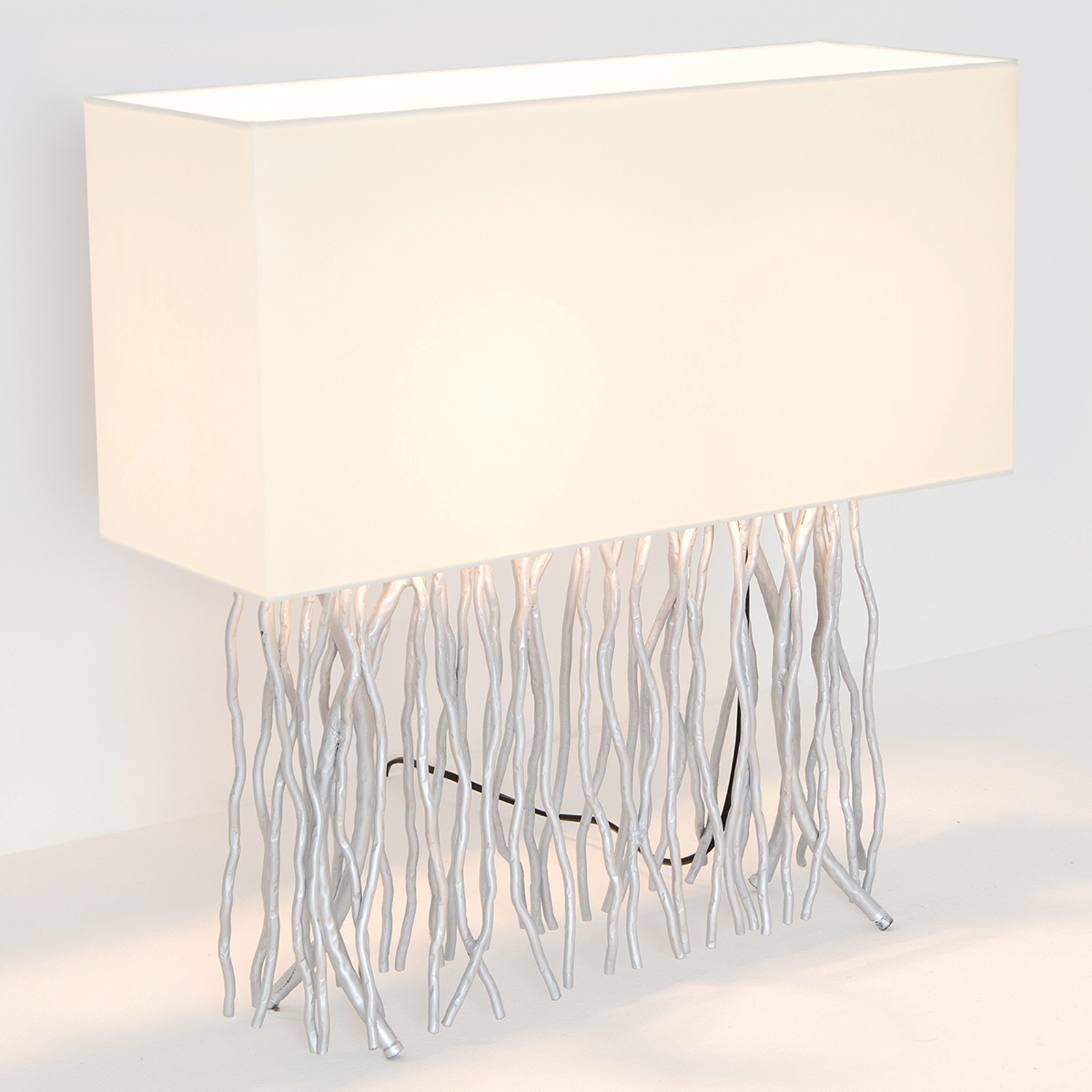 Tafellamp Capri, hoekig, ecru/zilver