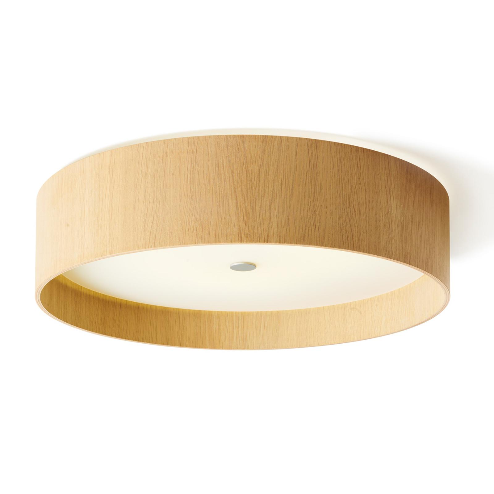 Ronde LED plafondlamp Lara wood, wit eiken, 55 cm