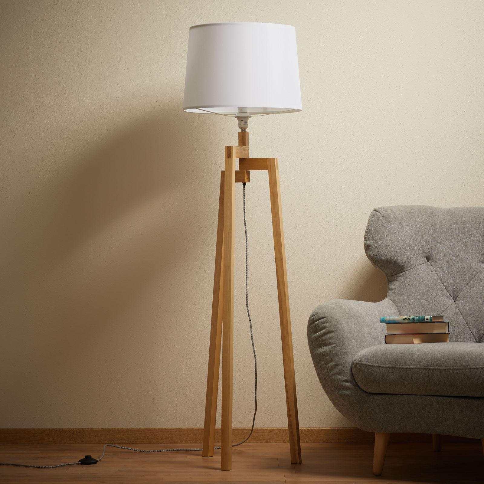 Trójnożna lampa stojąca Montana, materiałowy klosz