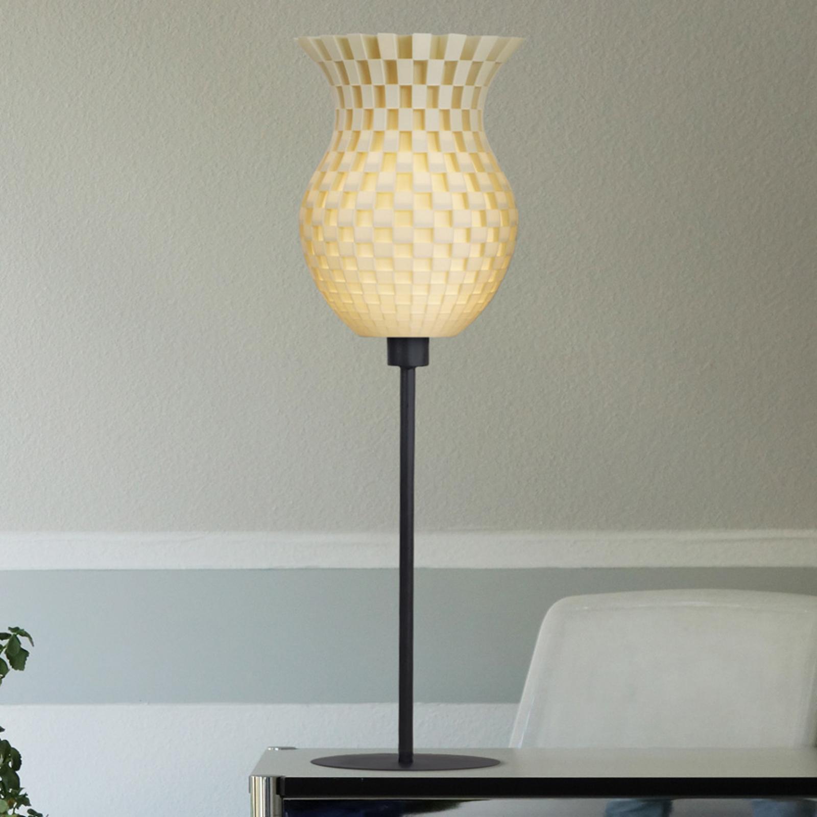 Lampe à poser Tressage, impression 3D, crème-blanc