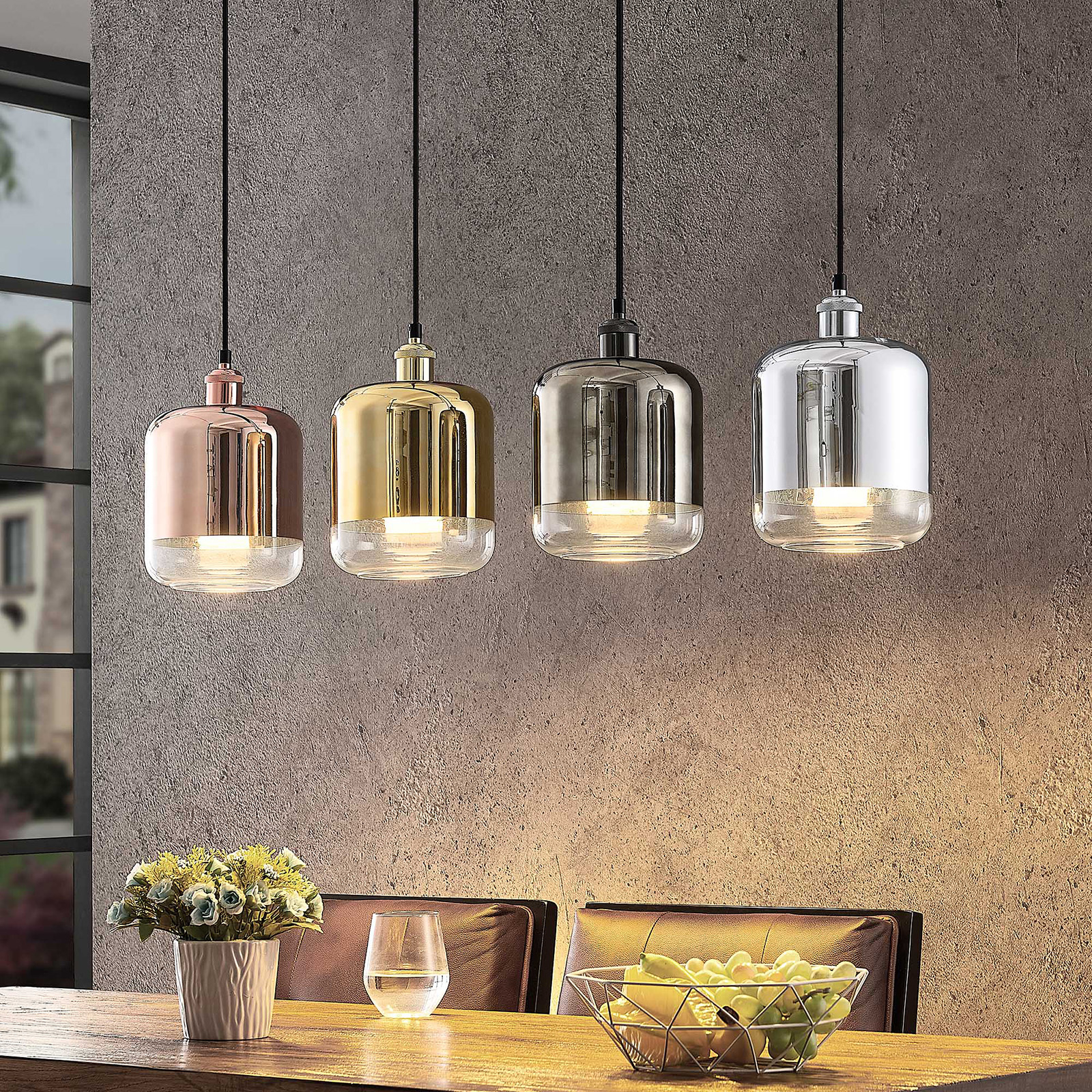 Lindby Tallinn suspension, abat-jour brillants