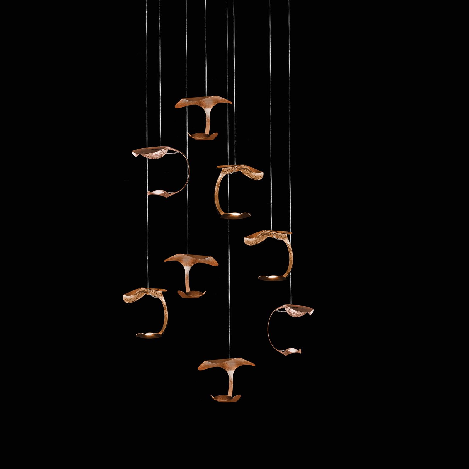 Knikerboker Le Gigine LED-hængelampe 8 lkld kobber