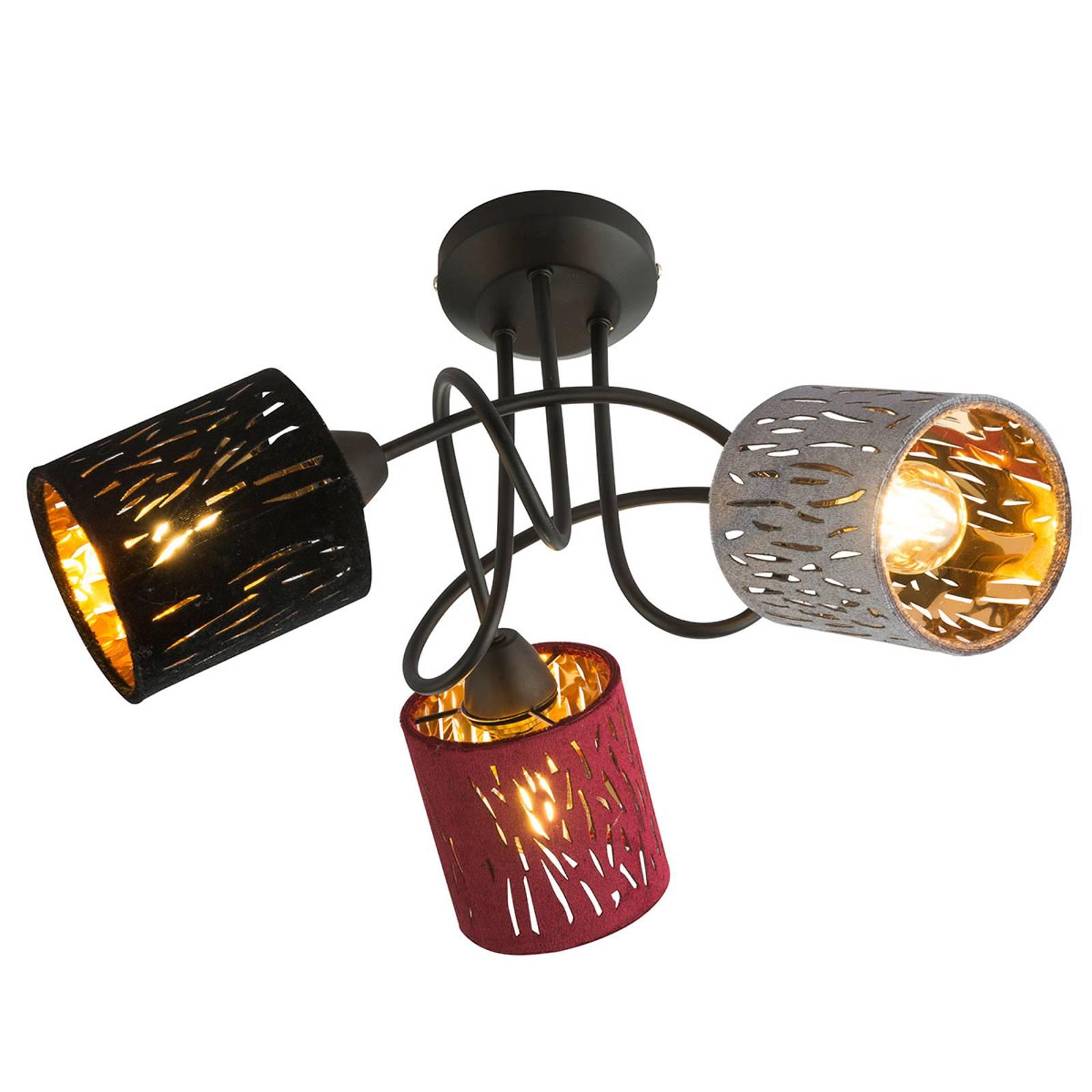 Loftlampe Ticon med tre farverige skærme