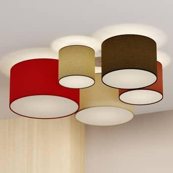 Lindby Laurenz taklampa, 5 lampor 90 cm röd-vit