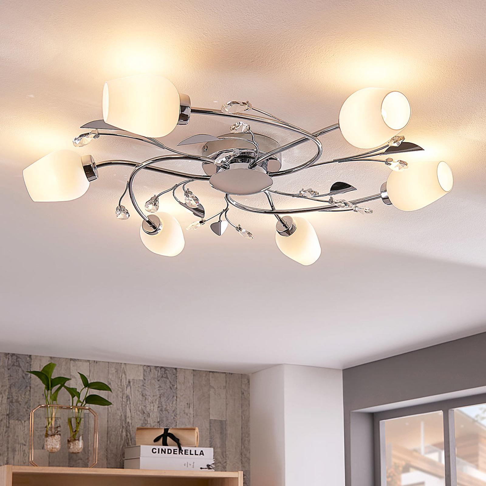 Freda – ładnie zdobiona lampa sufitowa, chromowana