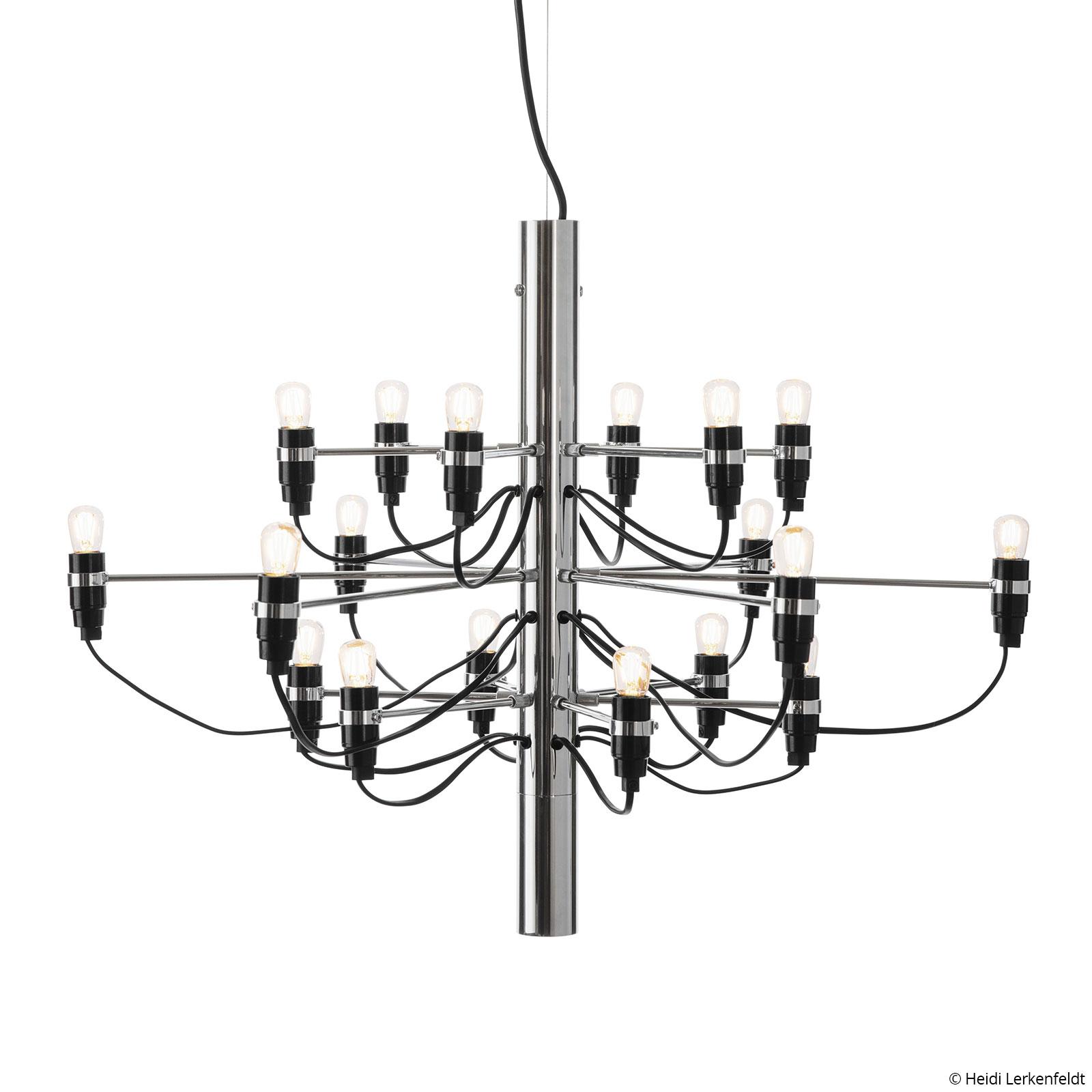 FLOS 2097/18 LED-ljuskrona frostad, krom
