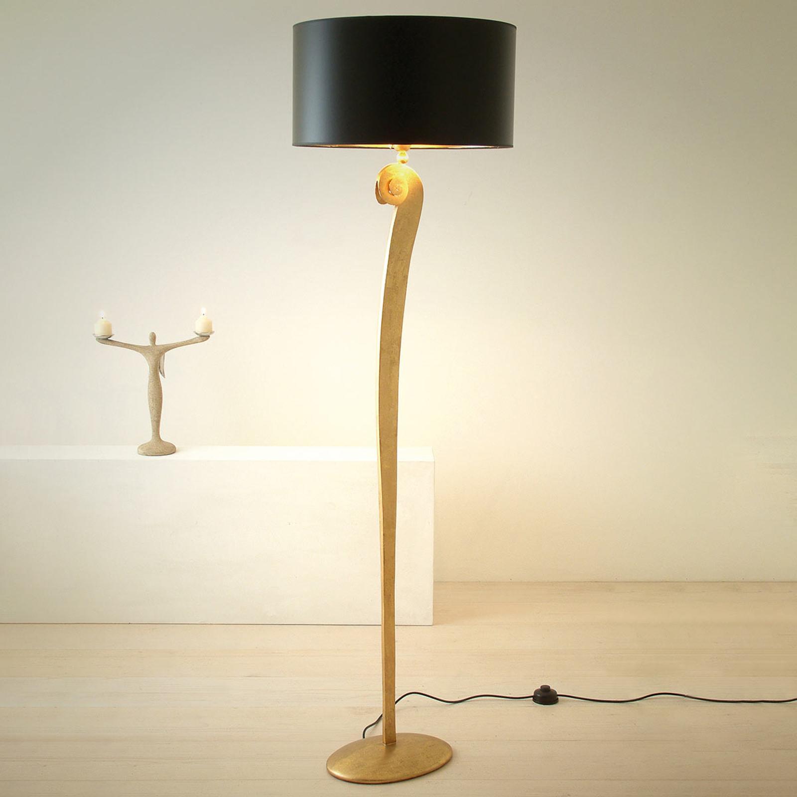 Elegante vloerlamp LORGOLIOSO in goud-zwart