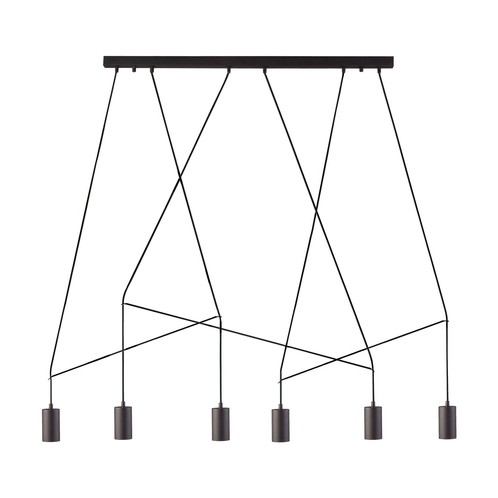 Suspension Imbria, à 6 lampes, noire