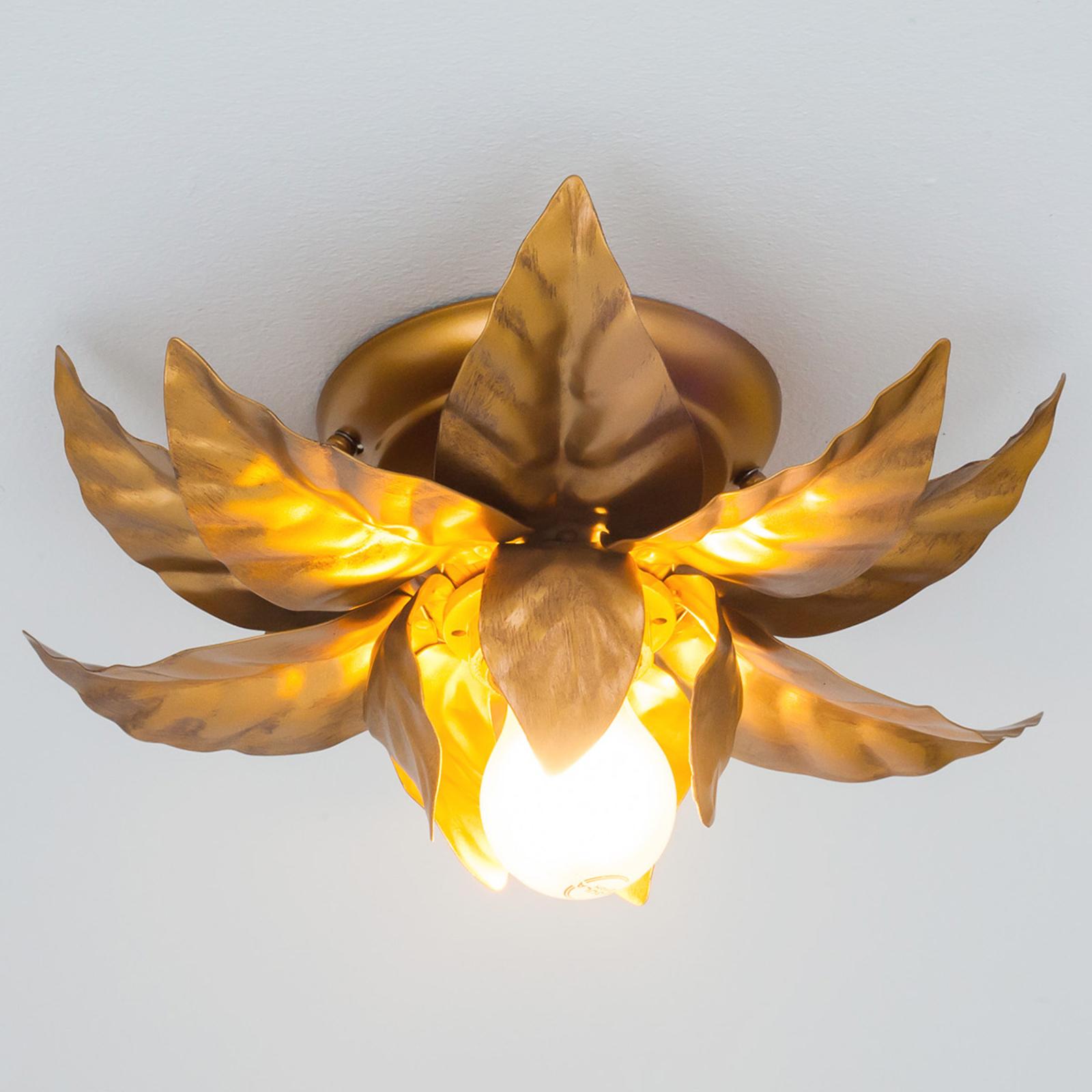 Lampa sufitowa ANTIK o złotych liściach 26 cm